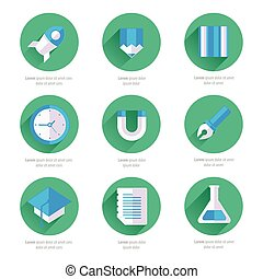 Set of vector flat design icons with long shadows