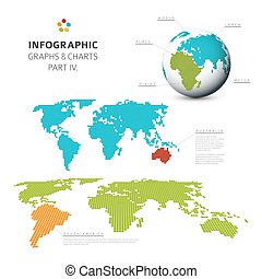 Set of vector flat design infographic charts and graphs 4