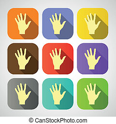 Set of vector flat icon hands eps