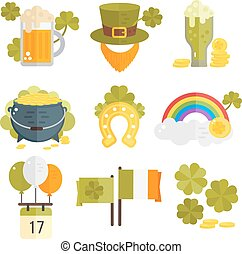 Set of vector flat icons for St.Patricks day