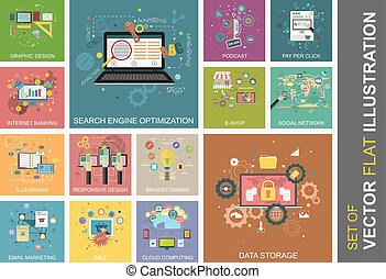 Set of vector flat illustrations. Design for your banner,...