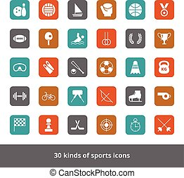 Set of vector flat web icons kinds