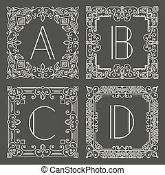 Set of vector floral and geometric monogram logos with...