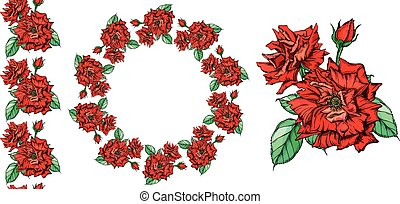 Set of vector floral arrangements with rose flowers.