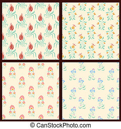 Set of vector floral backgrounds