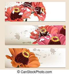Set of vector floral backgrounds for design