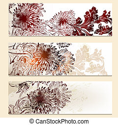 Set of vector floral banners for design
