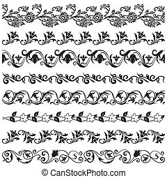 Set of vector flower borders