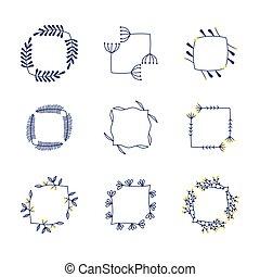 set of vector flower frames
