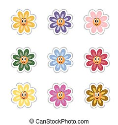 Set of vector flowers stickers