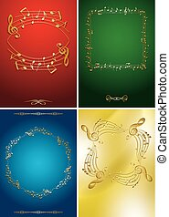 set of vector flyers with gold music frames - musical notes