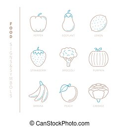 Set of vector food icons and concepts in mono thin line style