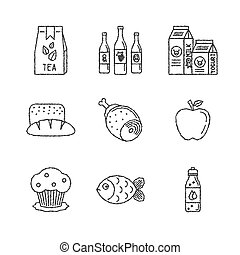 Set of vector food icons in sketch style