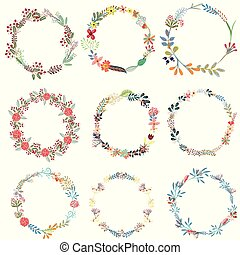 Set of vector frames from wreath.eps