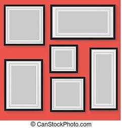 Set of vector frames on background.
