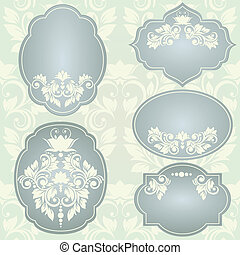 Set of  vector frames with floral ornaments