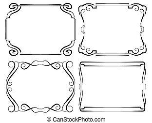 Set of vector framework. Black on white
