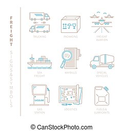 Set of vector freight icons and concepts in mono thin line style