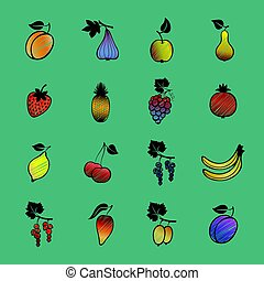 Set of vector fruits and berries. Hand drawn fruits and berries icons.