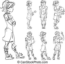 Set of vector full-length hand-drawn Caucasian teens, black and white front and side view sketch of girls with a flower, teddy bear and a butterfly, monochrome illustration of standing adolescent with hand crossed on chest.