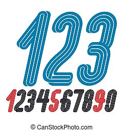 Set of vector funky condensed numbers created with parallel lines, for use as retro poster design elements for fun club or concert advertising.
