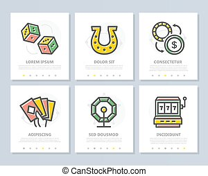 Set of vector gambling and casino colored elements for multipurpose a4 presentation template. Leaflet, corporate report, marketing, advertising, book cover design.
