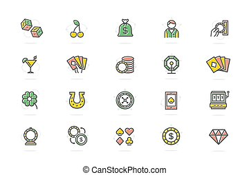 Set of vector gambling and casino colored line icons. Dice,...