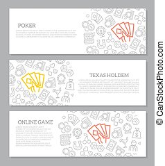 Set of vector gambling and casino horizontal banners with icon pattern. Vector illustration