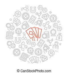 Set of vector gambling and casino icons in circle design concept. Illustration for presentations on white background