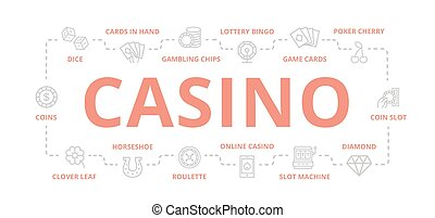 Set of vector gambling and casino thin line banner for design concept. Illustration for presentations on white background