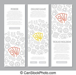 Set of vector gambling and casino vertical banners with icon pattern. Vector illustration