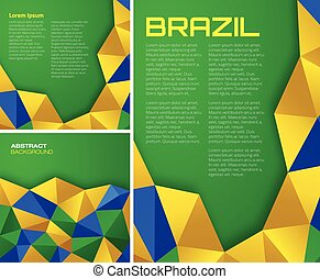 Set of vector geometric backgrounds using Brazil flag colors.