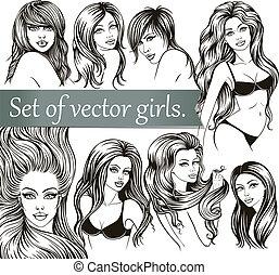 Set of vector girls. The black line