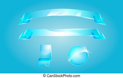 set of vector glass ribbons