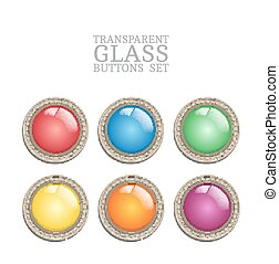Set of vector glass transparent button in metal frame, round illuminator like color icon element for web, game interface and steampunk scrapbooking decoration - with realistic transparent glass lense