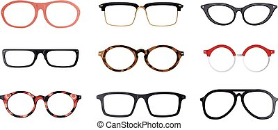 Set of vector glasses frames - Set of realistic eyeglasses...