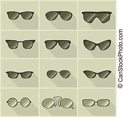 set of vector glasses in vintage style