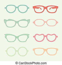 Set of vector glasses set with colored thick support.