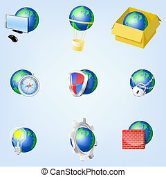 Set of vector globe icons