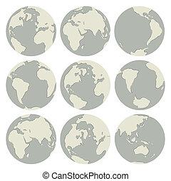 Set of vector globes
