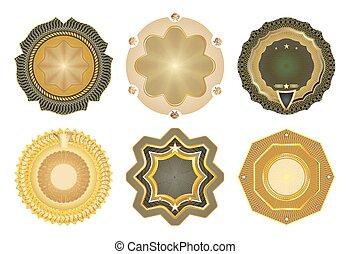 Set of vector gold-framed labels.