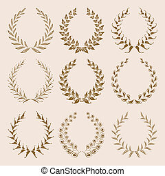 Set of Vector gold laurel wreaths. - Set of vector golden...