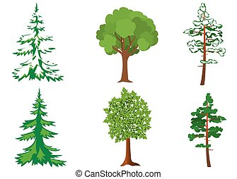 set of vector green and white trees