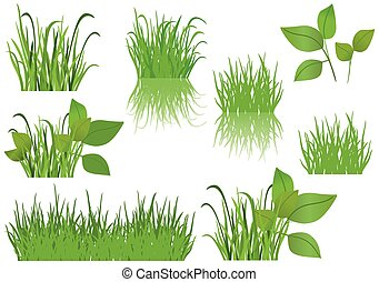 set of vector green grass