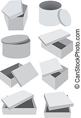 Set of vector grey boxes