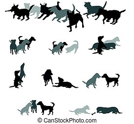 Set of vector group of dogs silhouettes