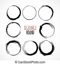 Set of vector grunge circle brush strokes