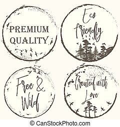 Set of vector grunge elegant labels for design