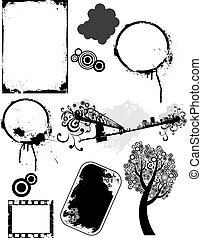 Set of vector grunge elements 1