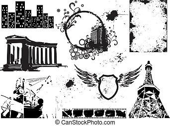 Set of vector grunge elements 2 - Set of vector grunge...
